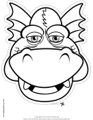Grinning Dragon Mask to Color