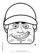 Male Baseball Mask to Color