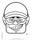 Male Biker Mask to Color