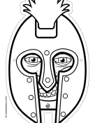 Male Greek Warrior Mask to Color