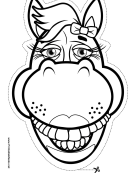 Horse with Bow Mask to Color