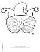 Mardi Gras Jester Mask to Color