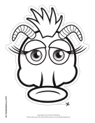Silly Monster with Horns Mask to Color
