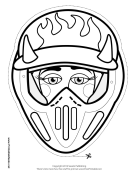 Female Motocross with Horns Mask to Color