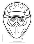 Male Motocross with Horns Mask to Color