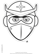 Helmeted Ninja Mask to Color