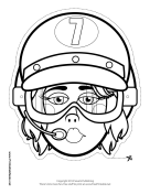 Female Racecar Driver Goggles Mask to Color