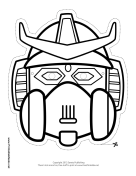 Robot with Horns Crest Mask to Color