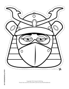 Female Samurai Mask to Color