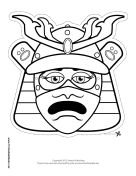 Female Samurai Mouth Mask to Color