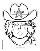 Female Sheriff Mask to Color