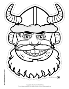 Male Viking with Horns Mask to Color