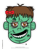 Zombie with Bow Mask to Color