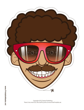 70s Guy with Glasses Mask Printable Mask