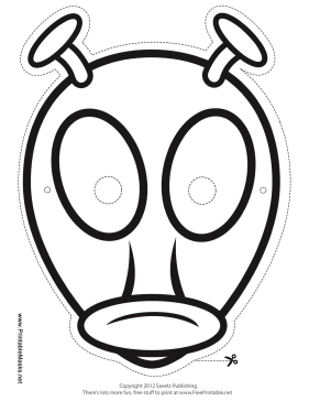 Alien with Antenna Mask to Color Printable Mask