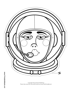 Female Astronaut Mask to Color Printable Mask