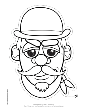 Mustachioed Bandit Mask to Color Printable Mask