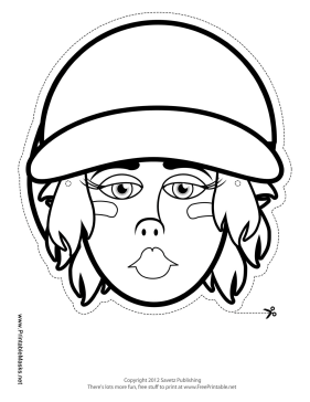 Female Baseball Mask to Color Printable Mask