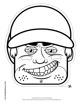 Male Baseball Mask to Color Printable Mask