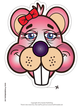 Beaver with Bow Mask Printable Mask