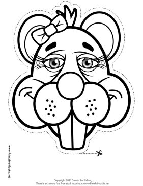 Beaver with Bow Mask to Color Printable Mask