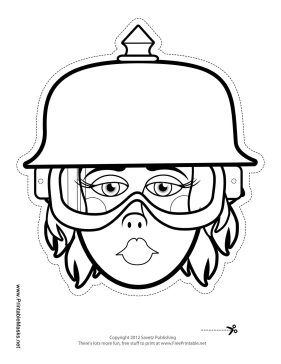 Female Biker with Spike Helmet Mask to Color Printable Mask