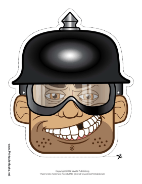 Male Biker with Spike Helmet Mask Printable Mask