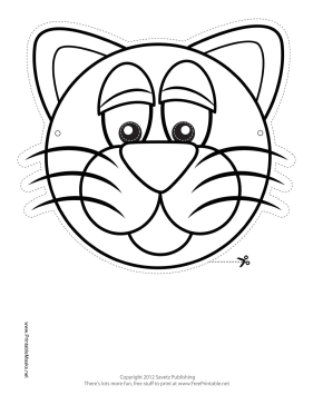 Cat Mask to Color Printable Mask
