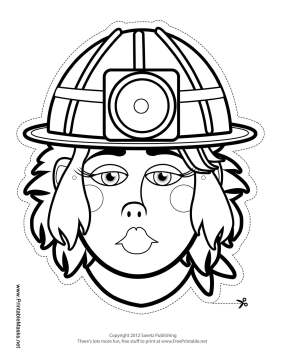 Female Caver-Miner Mask to Color Printable Mask