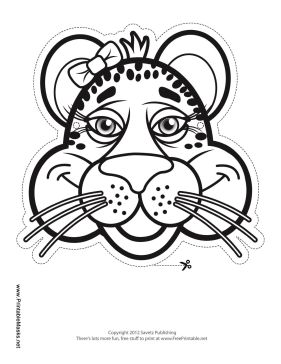 Cheetah with Bow Mask to Color Printable Mask