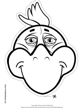Chicken Mask to Color Printable Mask