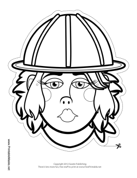 Female Construction Worker Mask to Color Printable Mask
