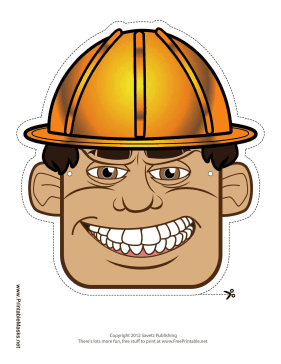 Male Construction Worker Mask Printable Mask
