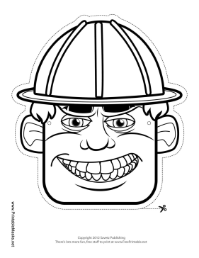 Male Construction Worker Mask to Color Printable Mask