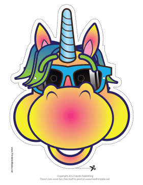 Cool Unicorn Mask Printable Mask