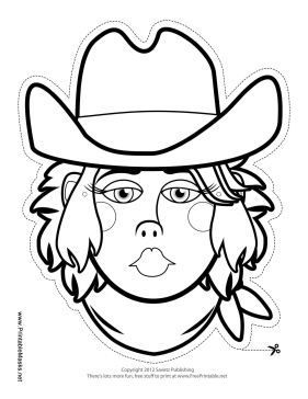 Cowgirl Mask to Color Printable Mask