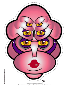 Female Creature Female with Six Eyes Mask Printable Mask