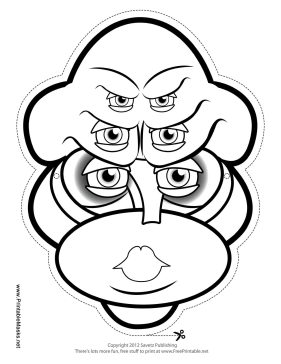 Female Creature Female with Six Eyes Mask to Color Printable Mask