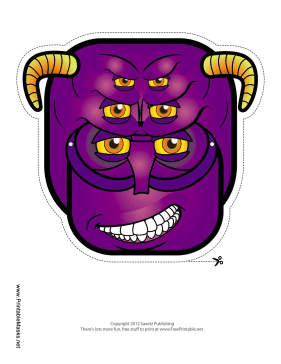 Creature with Horns Mask Printable Mask