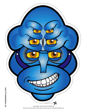 Male Creature Male with Six Eyes Mask Printable Mask