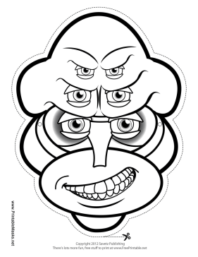 Male Creature Male with Six Eyes Mask to Color Printable Mask