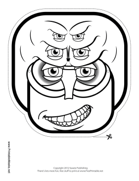 Creature Square Mask to Color Printable Mask
