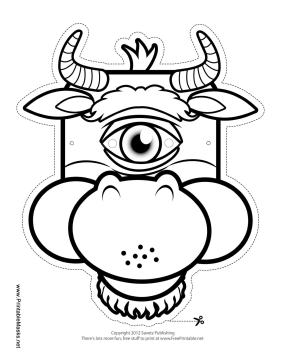 Cyclops Minotaur Mask to Color Printable Mask