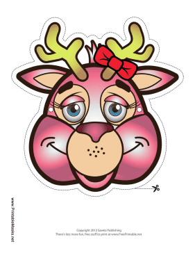 Deer with Bow Mask Printable Mask