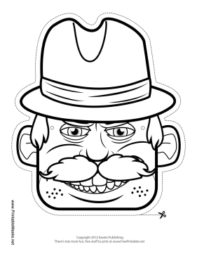 Male Detective Mask to Color Printable Mask