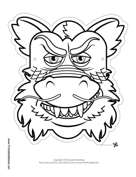 Asian Dragon Mask to Color Printable Mask