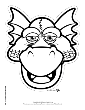 Drowsy Dragon Mask to Color Printable Mask