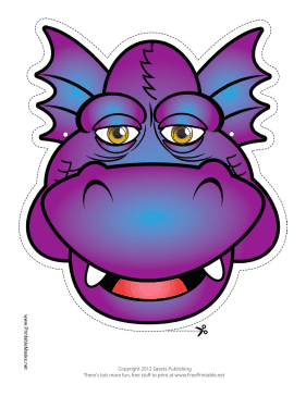 Grinning Dragon Mask Printable Mask