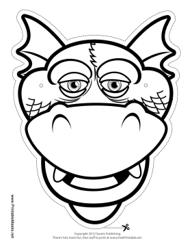 Silly Dragon Mask to Color Printable Mask