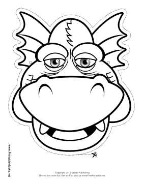 Smiling Dragon Mask to Color Printable Mask